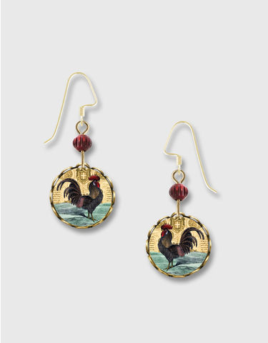 Lemon,Tree,-,Vintage,Rooster,Print,Lace,Brass,Disc,Earrings,Lemon Tree Earrings Colorado, Lemon Tree Earrings Rooster