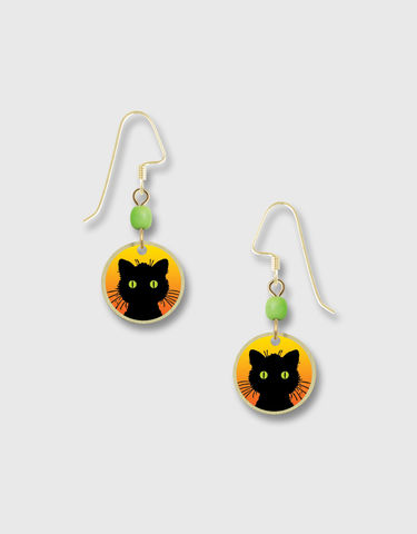 Lemon,Tree,-,Black,Cat,Print,Brass,Disc,Earrings,Lemon Tree Earrings Colorado, Lemon Tree Earrings Black Cat