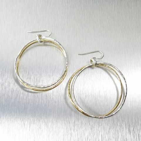 Marjorie,Baer,Large,Hammered,Two,Tone,Hoop,Earrings,Marjorie Baer clip post earrings, Marjorie Baer Large Hammered Two Tone Hoop Earrings