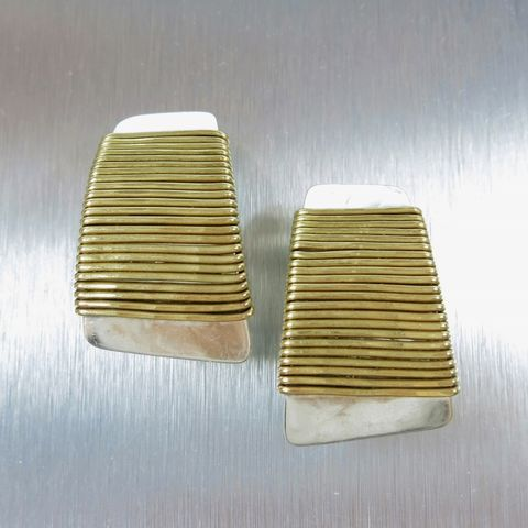 Marjorie,Baer,Wire-Wrapped,Tapered,Rectangle,Earrings,Marjorie Baer clip post earrings, Marjorie Baer Wire-Wrapped Tapered Rectangle Earrings