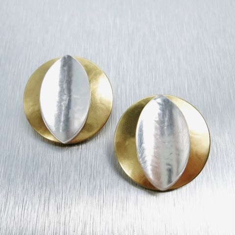 Marjorie,Baer,Convex,Disc,wth,Concave,Leaf,Clip,Earrings,Marjorie Baer clip post earrings, Marjorie Baer Convex Disc wth Concave Leaf Clip Earrings