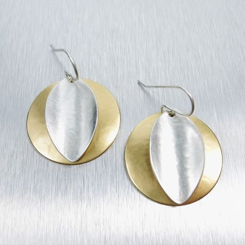 Marjorie,Baer,Convex,Disc,with,Concave,Leaf,Wire,Earrings,Marjorie Baer clip post earrings, Marjorie Baer Convex Disc wth Concave Leaf Wire Earrings
