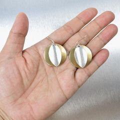 Marjorie Baer Convex Disc with Concave Leaf Wire Earrings - product images 7 of 8