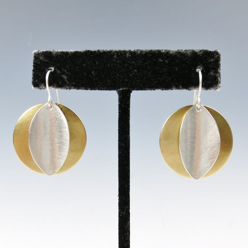 Marjorie Baer Convex Disc with Concave Leaf Wire Earrings - product image