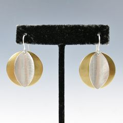 Marjorie Baer Convex Disc with Concave Leaf Wire Earrings - product images  of