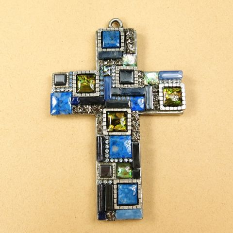 Ornate,Wall,Cross,-,Sodalite,,Hematite,and,Abalone,Ornate Wall Cross, Michal Golan Ornate Wall Cross, wall cross, Michal Golan cross