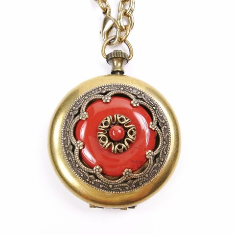 Jan,Michaels,Ornate,Pocket,Locket,Necklace,in,Red,Brecciated,Jasper,Jan Michaels Ornate Pocket Locket Necklace in Red Brecciated Jasper, Jan Michaels necklace, Jan Michaels Jewelry on sale