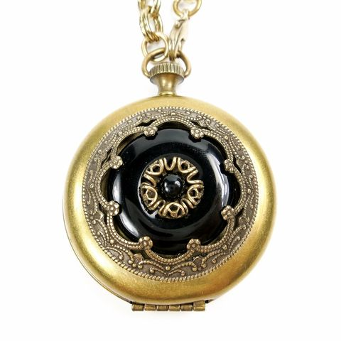 Jan,Michaels,Ornate,Pocket,Locket,Necklace,in,Black,Onyx,Jan Michaels Ornate Pocket Locket Necklace in Black Onyx, Jan Michaels necklace, Jan Michaels Jewelry on sale