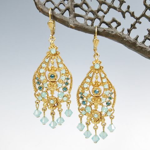 Catherine,Popesco,Ornate,Filigree,Chandelier,Crystal,Drop,Earrings,in,Pacific,Opal,Catherine Popesco Earrings, La Vie Parisienne Earrings, Catherine Popesco Jewelry, Catherine Popesco Paris