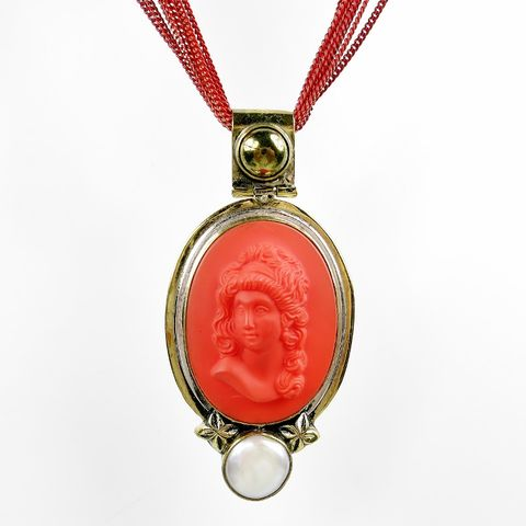 Amy,Kahn,Russell,-,Red,Vintage,Glass,Cameo,Liquid,Chain,Necklace,Amy Kahn Russell Red Vintage Glass Cameo Liquid Chain Necklace