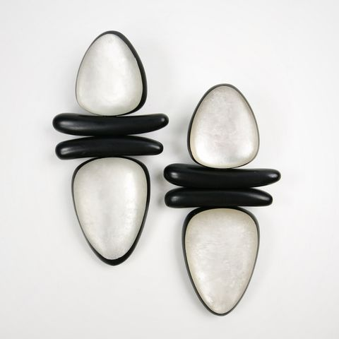 Monies,-,Ebony,and,Pearl,Leaf,Clip,On,Earrings,in,Black,White, Monies Earrings, Monies Denmark, Monies Jewelry