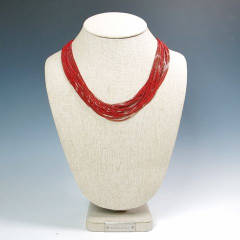 Amy,Kahn,Russell,-,Enameled,Liquid,Chain,Long,Necklace,in,Red,Amy Kahn Russell Necklace, Amy Kahn Russell Liquid Brass Necklace, Amy Kahn Russell, Amy Kahn Russell jewelry
