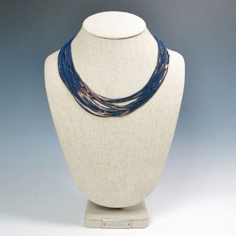 Amy,Kahn,Russell,-,Enameled,Liquid,Chain,Long,Necklace,in,Navy,Amy Kahn Russell Necklace, Amy Kahn Russell Liquid Brass Necklace, Amy Kahn Russell, Amy Kahn Russell jewelry
