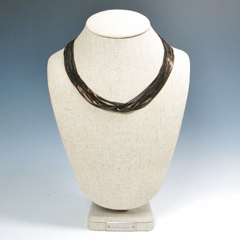 Amy,Kahn,Russell,-,Enameled,Liquid,Chain,Long,Necklace,in,Black,Amy Kahn Russell Necklace, Amy Kahn Russell Liquid Brass Necklace, Amy Kahn Russell, Amy Kahn Russell jewelry
