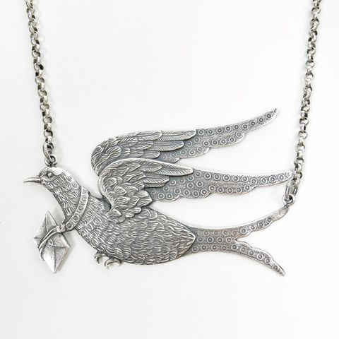 Catherine,Popesco,Silver,Messenger,Dove,with,Letter,Necklace,Catherine Popesco Necklace, La Vie Parisienne Necklace, Catherine Popesco Jewelry, Catherine Popesco Paris
