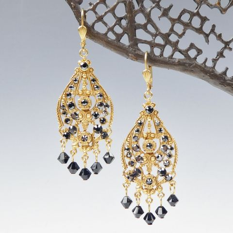 Catherine,Popesco,Ornate,Filigree,Chandelier,Crystal,Drop,Earrings,in,Jet,Catherine Popesco Earrings, La Vie Parisienne Earrings, Catherine Popesco Jewelry, Catherine Popesco Paris