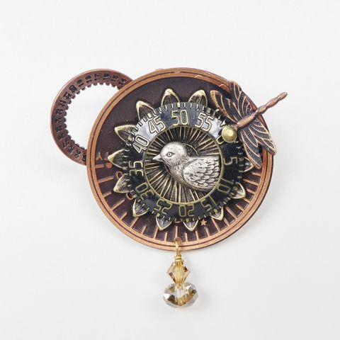 Mullanium,-,Bird,on,Sunburst,Dial,Pin,Mullanium Bird on Sunburst Dial Pin, Mullanium pin brooch