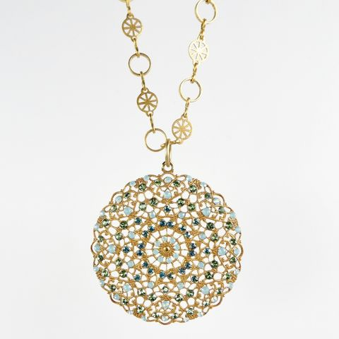 Catherine,Popesco,Gold,Medallion,Necklace,with,Swarovski,Crystals,in,Pacific,Opal,Catherine Popesco Necklace, La Vie Parisienne Necklace, Catherine Popesco Jewelry, Catherine Popesco Paris