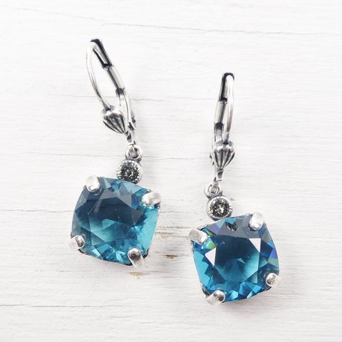 Catherine,Popesco,Antique,Silver,Square,Swarovski,Crystals,Drop,Earrings,in,Teal,Catherine Popesco Earrings, La Vie Parisienne Earrings, Catherine Popesco Jewelry, Catherine Popesco Paris