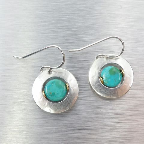 Marjorie,Baer,Cutout,Disc,Turquoise,Bead,Earrings,Marjorie Baer clip post earrings, Marjorie Baer Cutout Disc Turquoise Bead Earrings