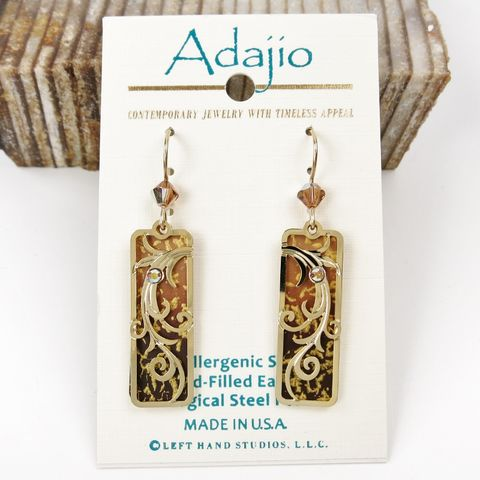 Adajio,Earrings,-,Golden,Brown,Ombre,Column,with,Gold,Plated,Tendrils,Overlay,Adajio 7854, Adajio Earrings, Adajio earrings Sienna Sky, Etched Brass Earrings, Artisan Handmade