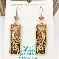 Adajio Earrings - Golden Brown Ombre Column with Gold Plated Tendrils Overlay - product images 2 of 3