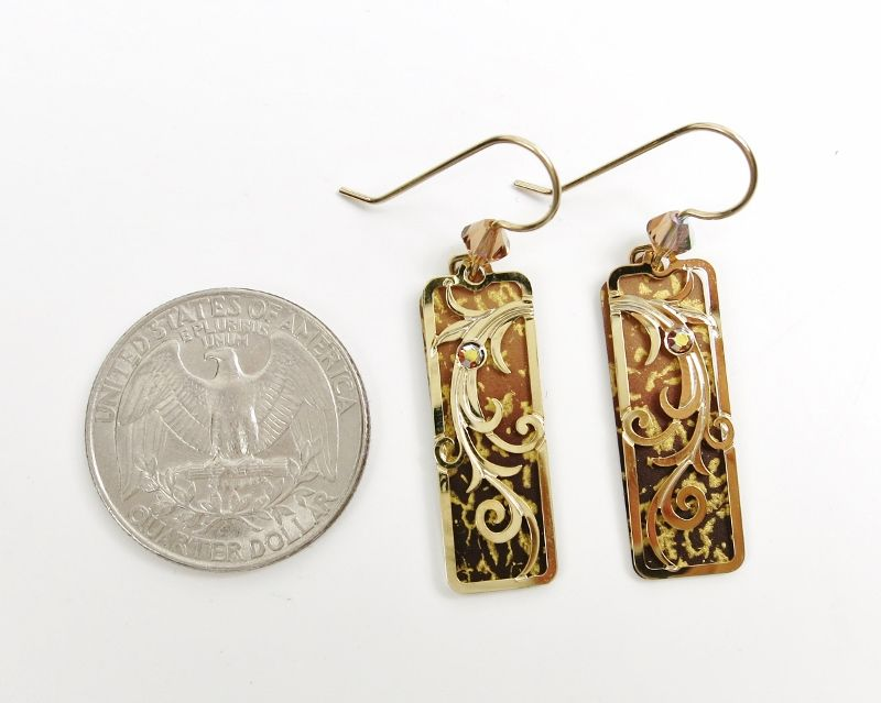 Adajio Earrings - Golden Brown Ombre Column with Gold Plated Tendrils Overlay - product image