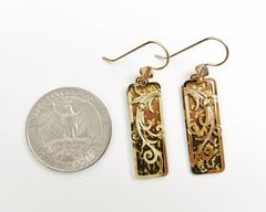 Adajio Earrings - Golden Brown Ombre Column with Gold Plated Tendrils Overlay - product images 3 of 3