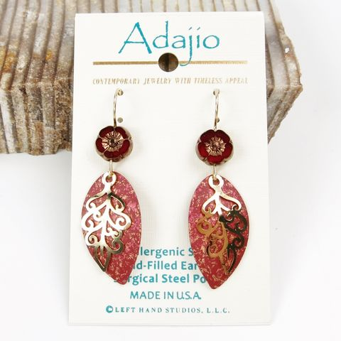 Adajio,Earrings,-,Leaf,Drop,with,Gold,Plated,Feather,&,Czech,Hibiscus,Flower,Bead,Adajio 7848, Adajio Earrings, Adajio earrings Sienna Sky, Etched Brass Earrings, Artisan Handmade