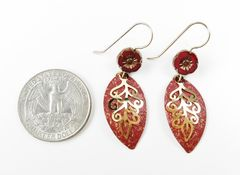Adajio Earrings - Leaf Drop with Gold Plated Feather & Czech Hibiscus Flower Bead - product images 3 of 3
