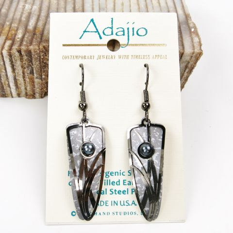 Adajio,Earrings,-,Sparkling,Silver,Trowel,Shape,with,Hematite,Reeds,Overlay,Adajio 7843, Adajio Earrings, Adajio earrings Sienna Sky, Etched Brass Earrings, Artisan Handmade