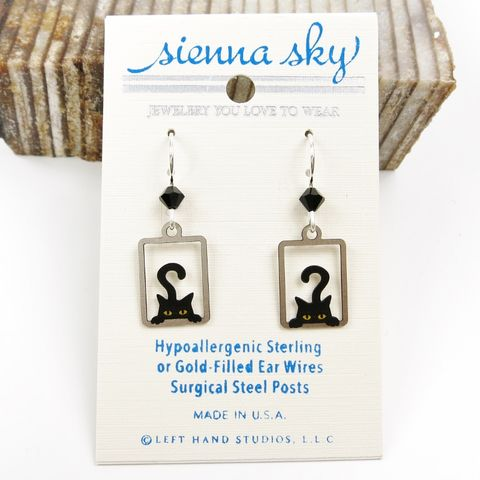 Sienna,Sky,Earrings,-,Peek,A,Boo,Black,Cat,in,Rectangle,Sienna Sky Earrings, Adajio earrings Sienna Sky, Sienna Sky Colorado