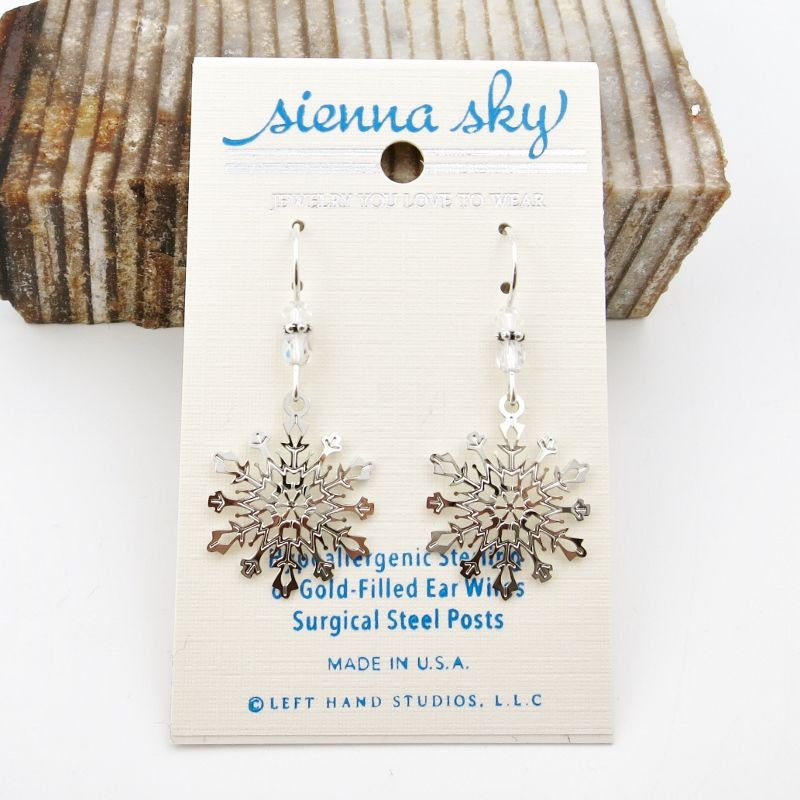 Sienna Sky Earrings - Filigree Snowflake with Crystal Beads - product image