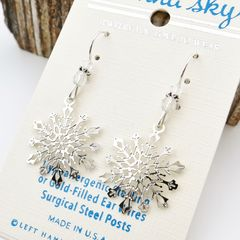 Sienna Sky Earrings - Filigree Snowflake with Crystal Beads - product images 3 of 5