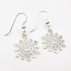 Sienna Sky Earrings - Filigree Snowflake with Crystal Beads - product images 4 of 5