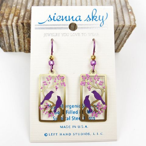 Sienna,Sky,Earrings,-,Two,Purple,Birds,in,Gold,Branch,Cherry,Tree,Sienna Sky Earrings, Adajio earrings Sienna Sky, Sienna Sky Colorado