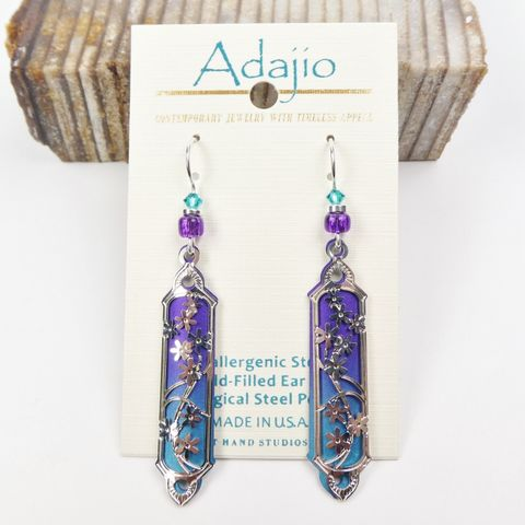 Adajio,Earrings,-,Purple,and,Teal,Long,Column,with,Shiny,Silver,Floral,Overlay,Adajio Earrings, Adajio earrings Sienna Sky, Adajio Jewelry, Adajio Colorado