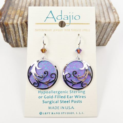 Adajio,Earrings,-,Shiny,Silver,Ribbons,on,Rich,Purple,Disc,Adajio Earrings, Adajio earrings Sienna Sky, Adajio Jewelry, Adajio Colorado
