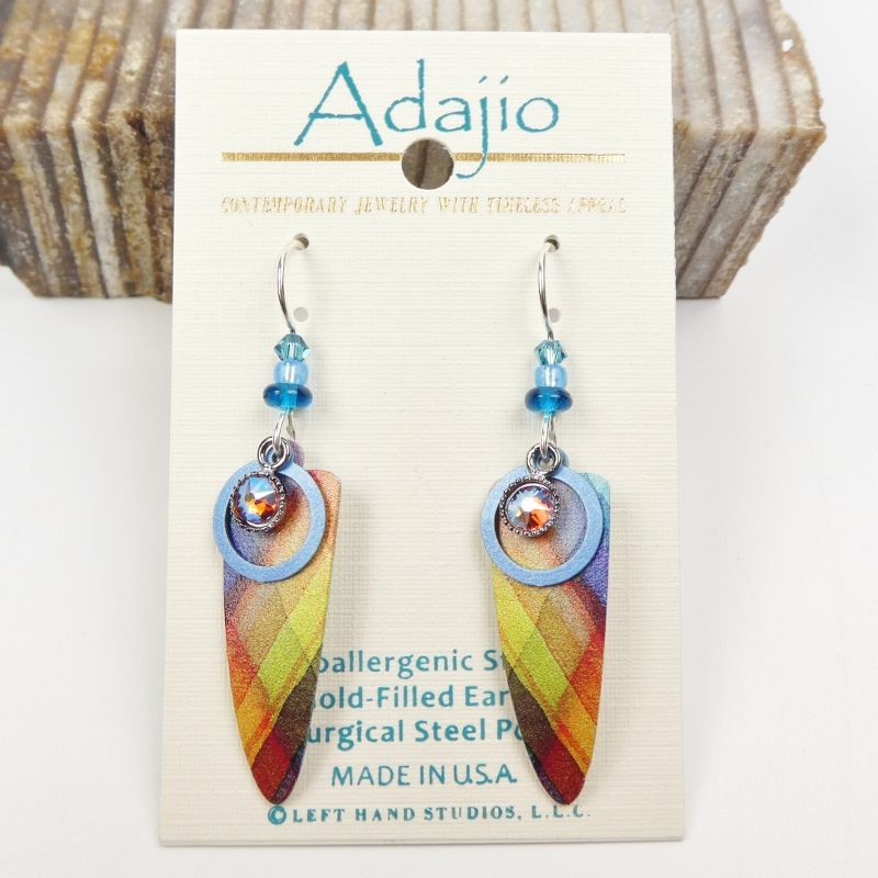 Adajio Earrings - Colorful Plaid Trowel Shape with Beads - product image