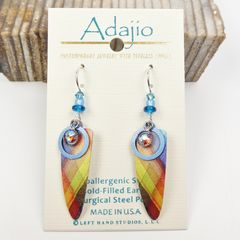 Adajio Earrings - Colorful Plaid Trowel Shape with Beads - product images 1 of 4