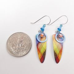 Adajio Earrings - Colorful Plaid Trowel Shape with Beads - product images 4 of 4