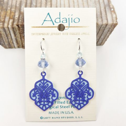 Adajio,Earrings,-,Dark,Blue,Deco,Cutout,Design,with,Light,Back,Adajio Earrings, Adajio earrings Sienna Sky, Adajio Jewelry, Adajio Colorado, Adajio 7892
