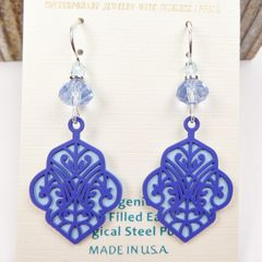 Adajio Earrings - Dark Blue Deco Cutout Design with Light Blue Back - product images 2 of 4