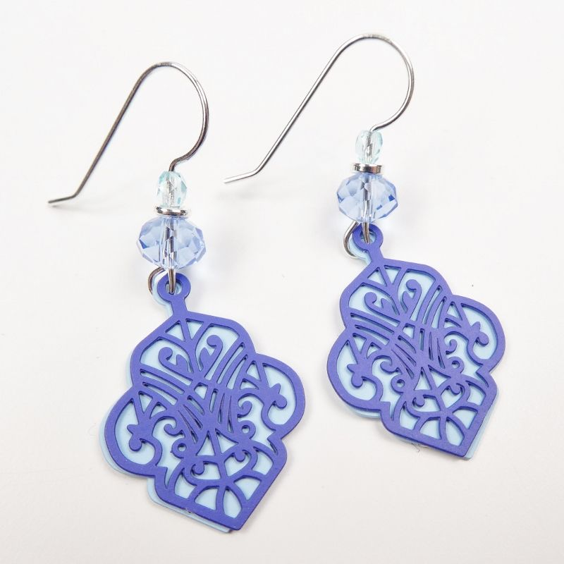 Adajio Earrings - Dark Blue Deco Cutout Design with Light Blue Back - product image