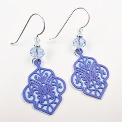 Adajio Earrings - Dark Blue Deco Cutout Design with Light Blue Back - product images 3 of 4