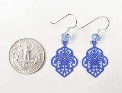 Adajio Earrings - Dark Blue Deco Cutout Design with Light Blue Back - product images 4 of 4
