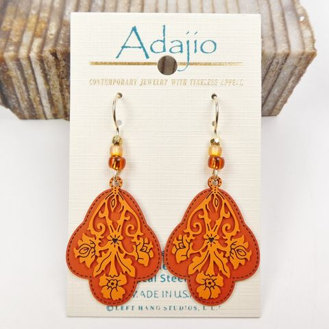 Adajio,Earrings,-,Light,Orange,Cutout,Floral,Design,with,Dark,Back,Adajio Earrings, Adajio earrings Sienna Sky, Adajio Jewelry, Adajio Colorado, Adajio 7869