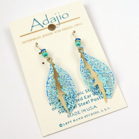 Adajio,Earrings,-,Delicate,Blue,and,Aqua,Leaf,with,Gold,Plated,Vein,Overlay,Adajio Earrings, Adajio earrings Sienna Sky, Adajio Jewelry, Adajio Colorado, Adajio 7872