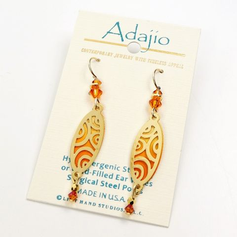 Adajio,Earrings,-,Orange,Oval,with,Shiny,Gold,Plated,Circles,Overlay,and,Beads,Adajio Earrings, Adajio earrings Sienna Sky, Adajio Jewelry, Adajio Colorado, Adajio 7890