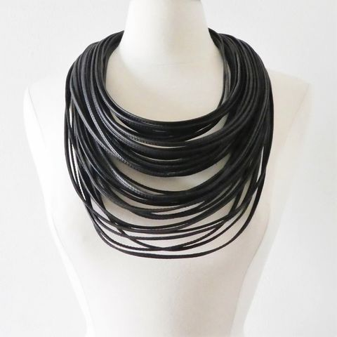 Monies,-,Large,Ebony,Magnetic,Clasp,Multi,Leather,Strand,Necklace, Monies Necklace, Monies Denmark, Monies Jewelry